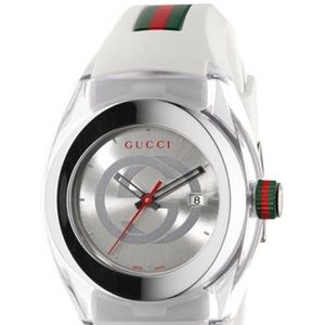 Gucci Sync Unisex White Stripped Rubber Watch❤️💚
